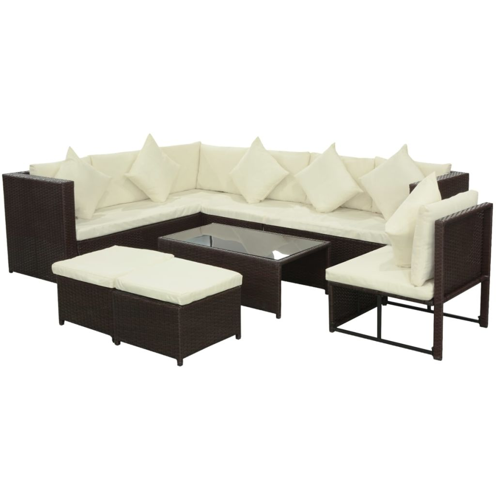 vidaXL Garden Sofa Set 29 Pieces Poly Rattan Brown Lounge Chair Furniture