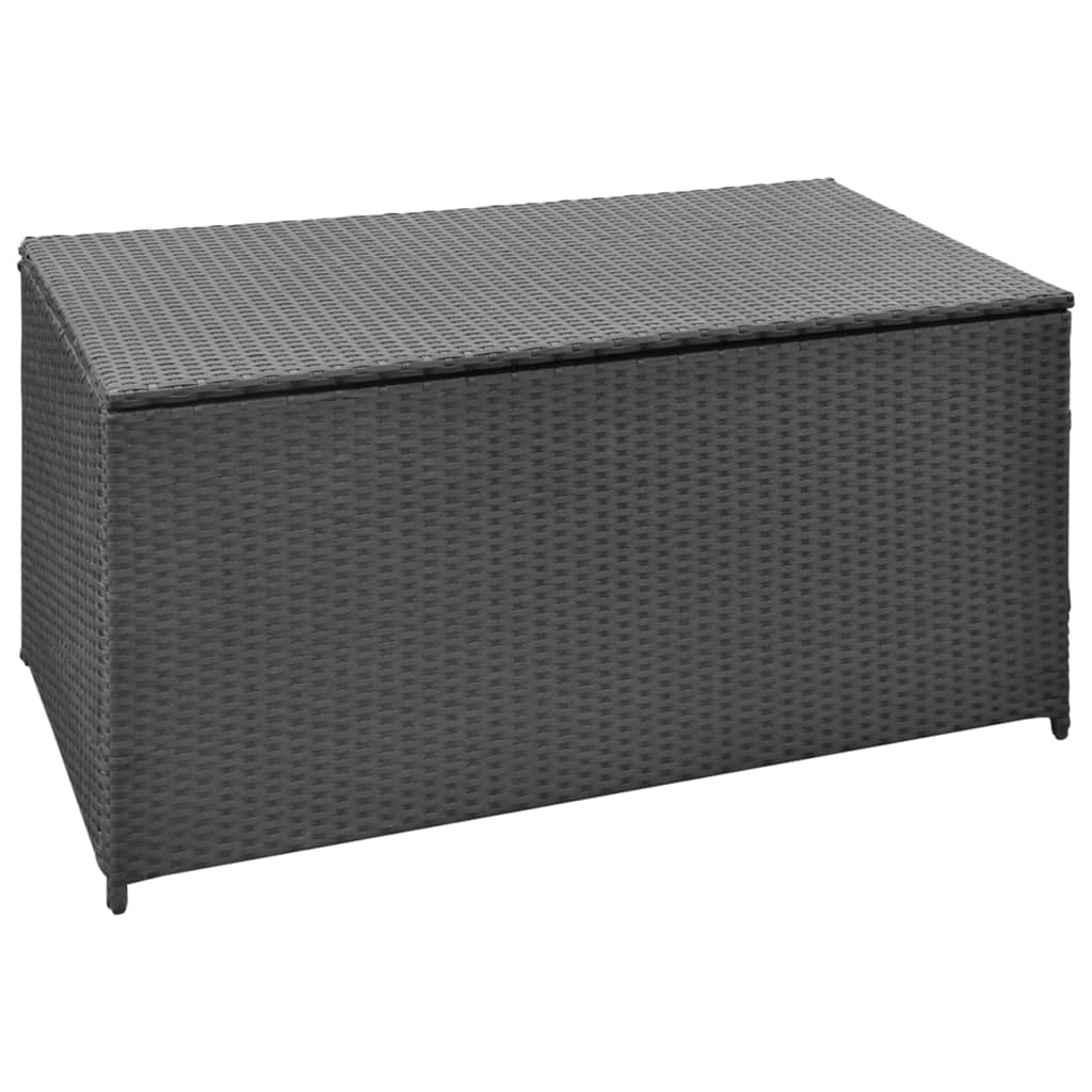 Garden Storage Chest Poly Rattan Black Bench Box Case Cabinet Trunk
