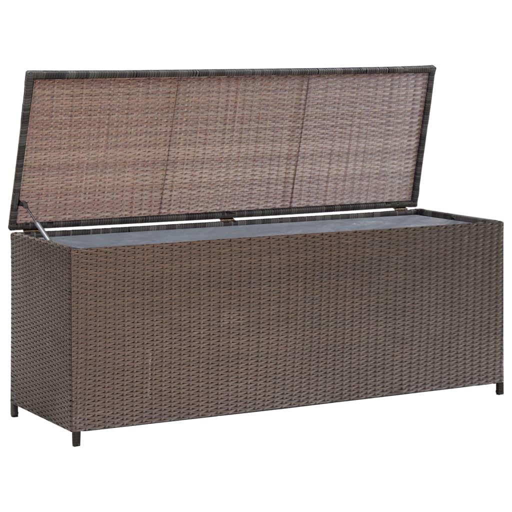 Garden Storage Chest Poly Rattan Brown Bench Box Case Cabinet Trunk