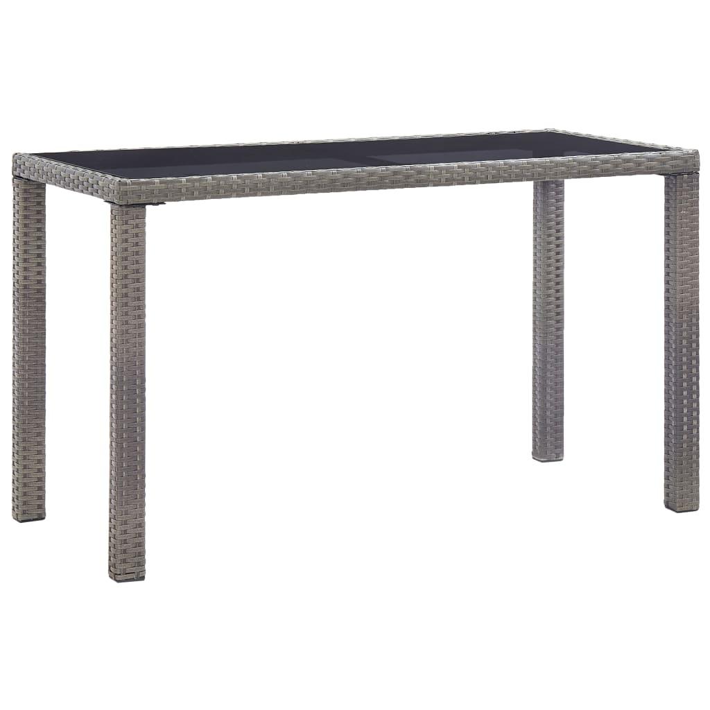 vidaXL Garden Table Anthracite 123cm Poly Rattan Outdoor Dining Furniture