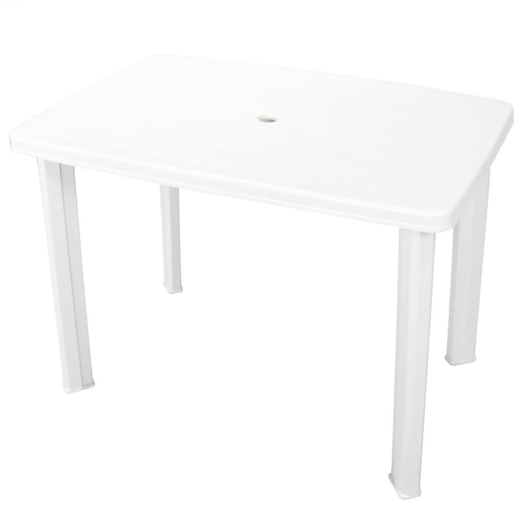 vidaXL Garden Table Plastic White Portable Outdoor Patio Dining BBQ Table