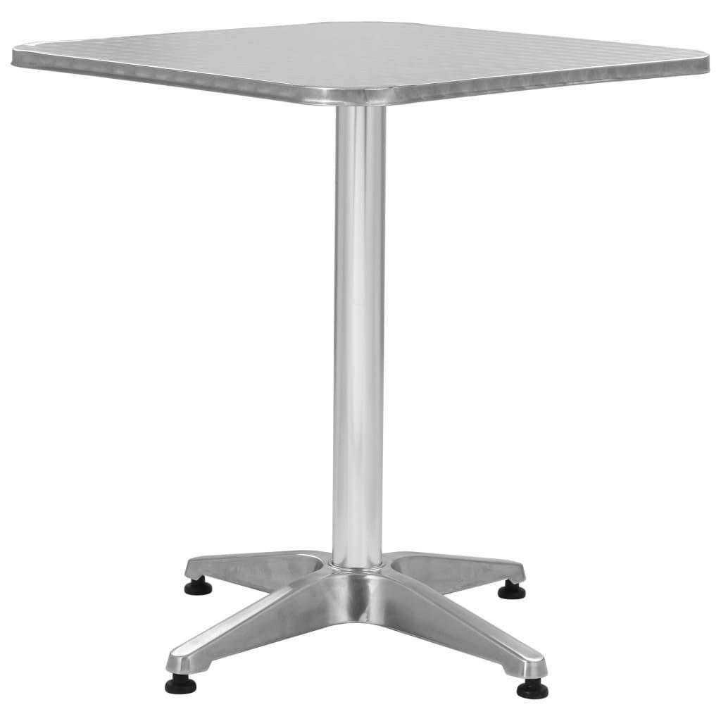 Garden Table Silver 60cm Aluminium Outdoor Terrace Table Furniture