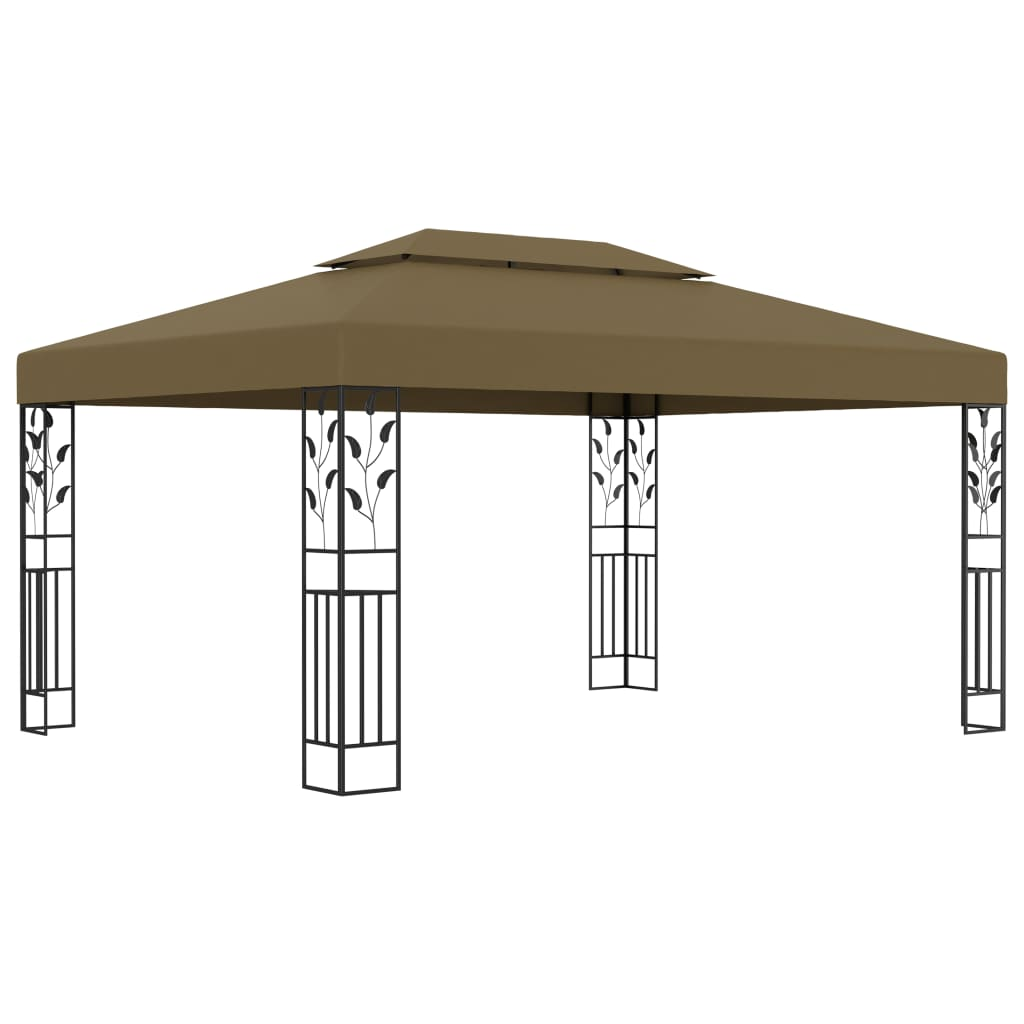 Gazebo with Double Roof 3x4 m Taupe 180 g/m? Outdoor Pavilion Canopy
