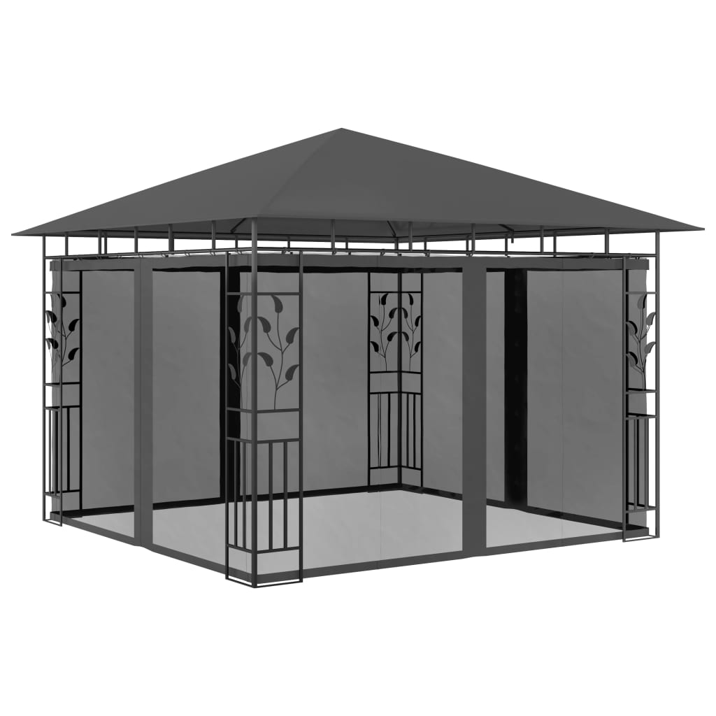 Gazebo with Mosquito Net 3m Anthracite Outdoor Garden Canopy Shelter