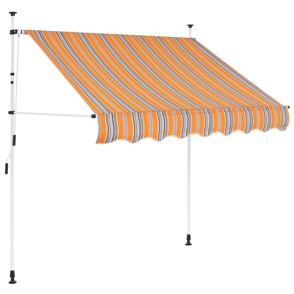 Manual Retractable Awning 200cm Yellow and Blue Stripes Sunshade Canopy