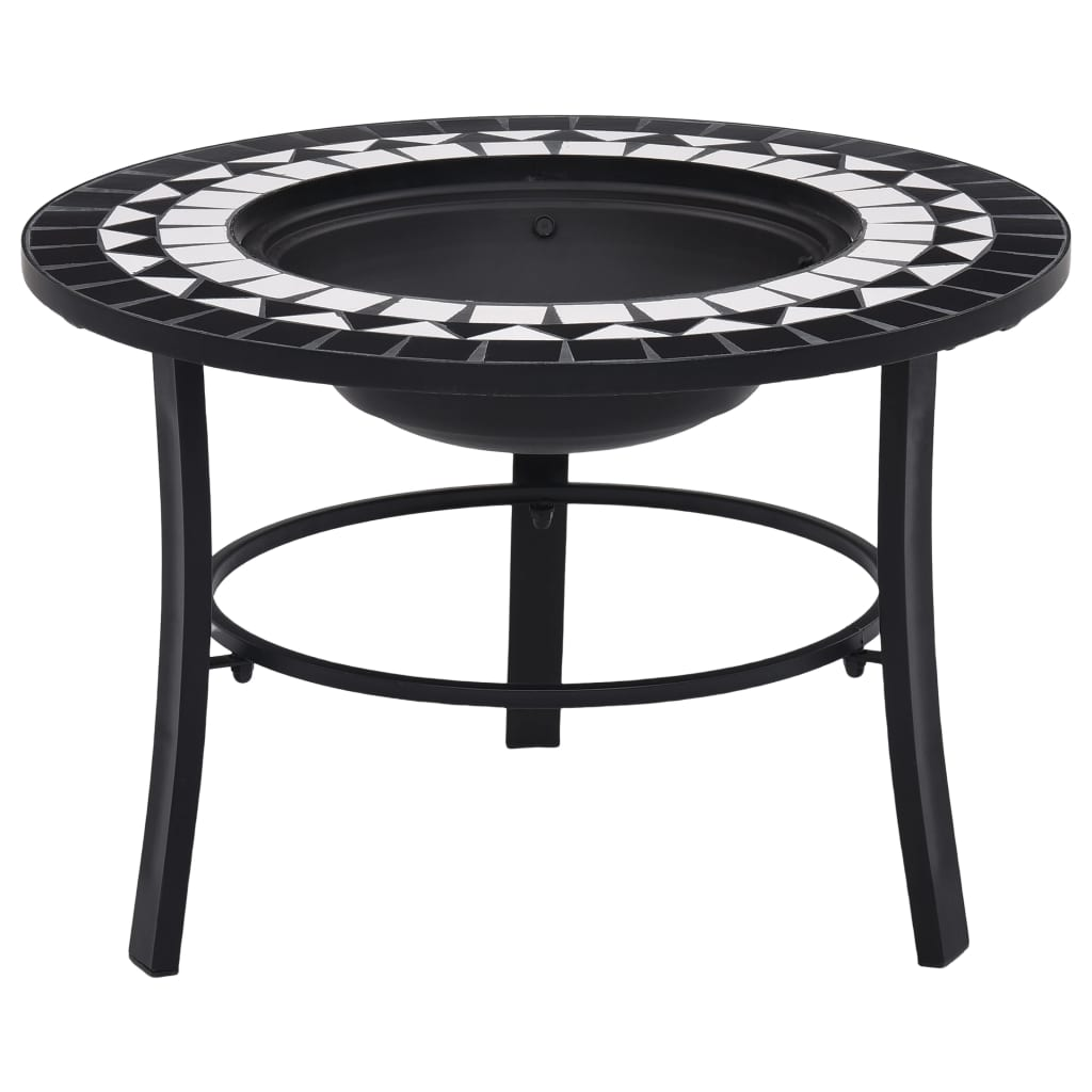 vidaXl Mosaic Fire Pit Black and White 68cm Ceramic Patio Outdoor Fireplace