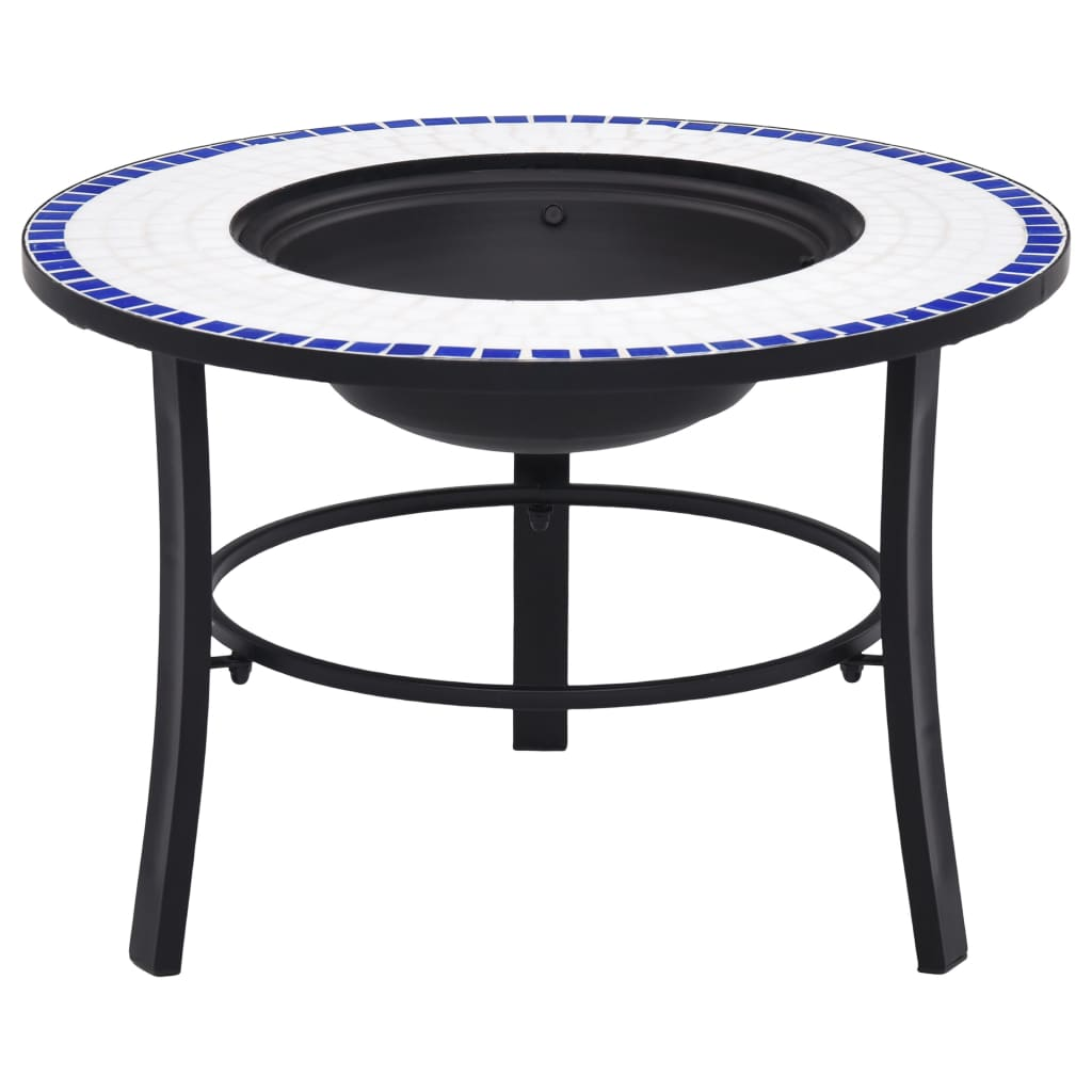 vidaXl Mosaic Fire Pit Blue and White 68cm Ceramic Patio Outdoor Fireplace