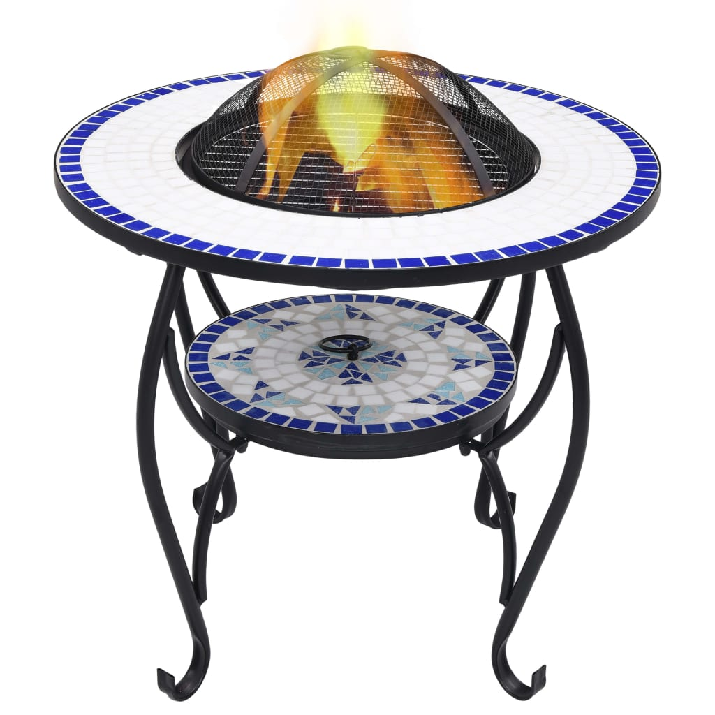 Mosaic Fire Pit Table Blue and White 68cm Ceramic Backyard Fireplace