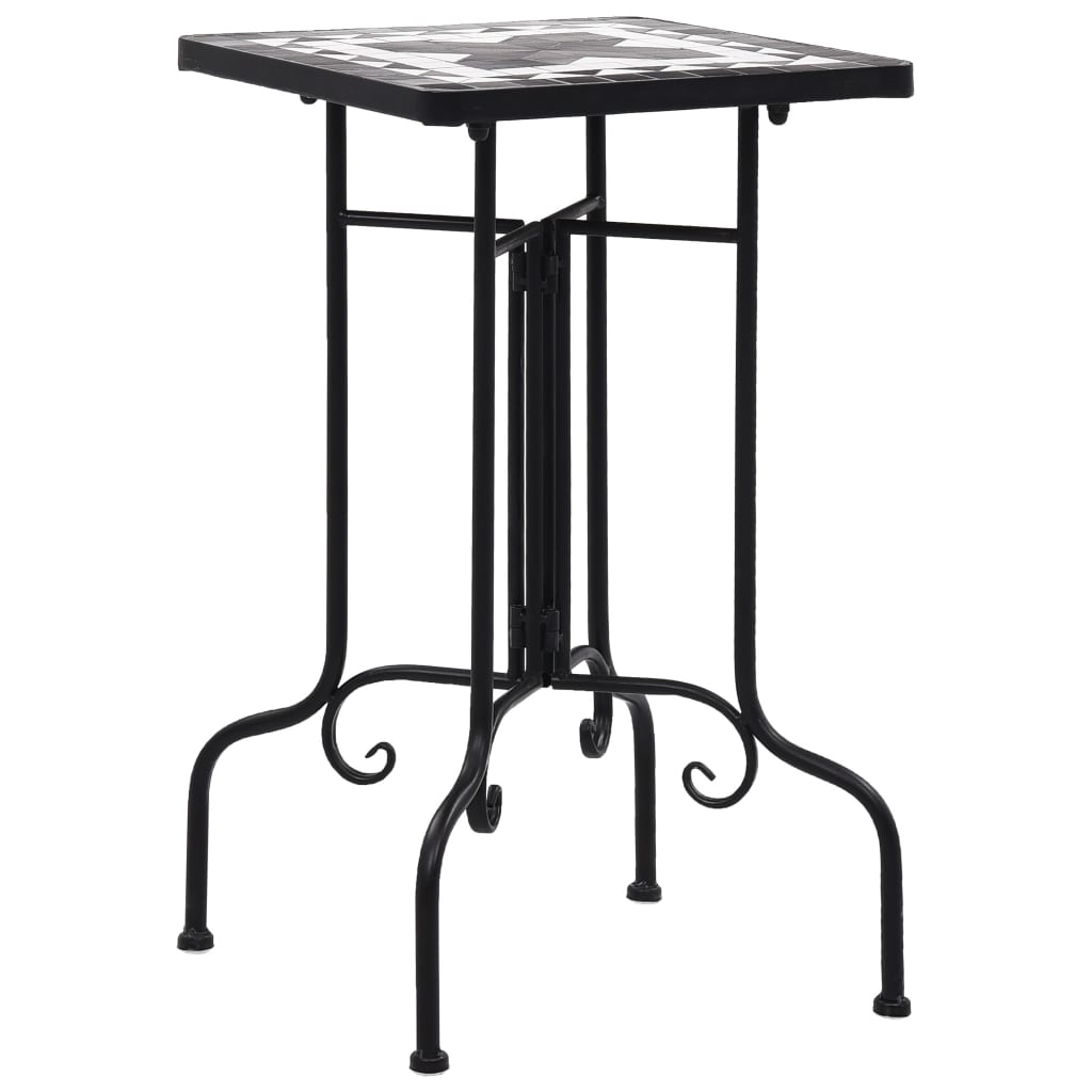 Mosaic Side Table Black and White Ceramic Accent Balcony Poolside Table