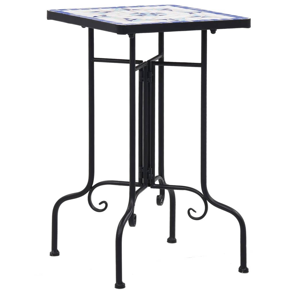 Mosaic Side Table Blue and White Ceramic Accent Balcony Poolside Table