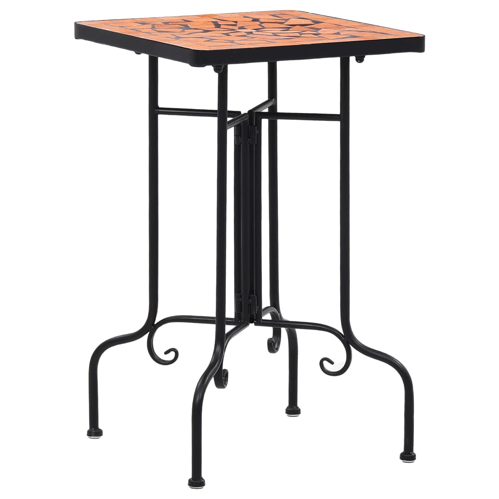Mosaic Side Table Terracotta Ceramic Accent Balcony Poolside Table