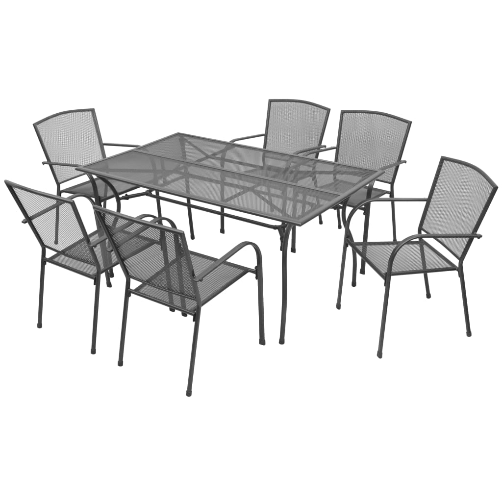 Outdoor Dining Set 7 Piece Steel Mesh Garden Table Stacking Chairs