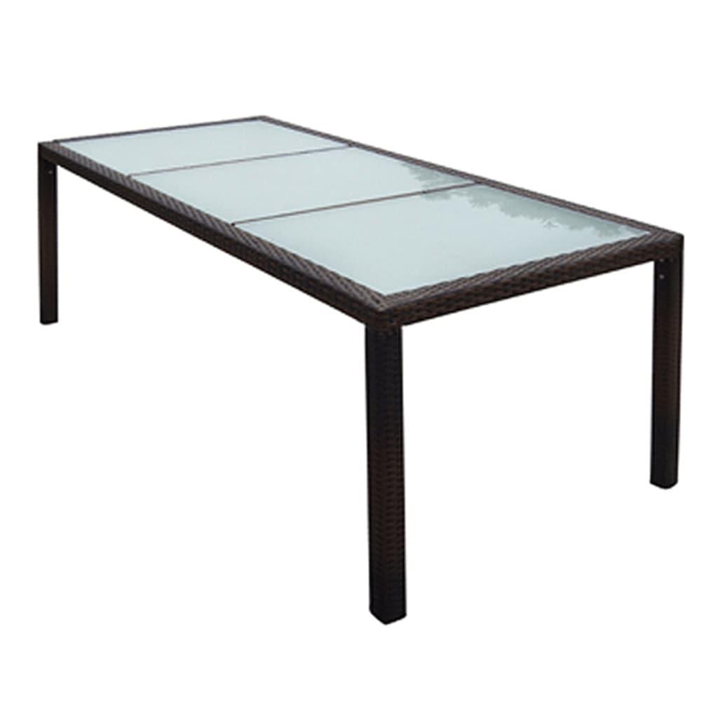 Outdoor Dining Table Poly Rattan Brown Indoor Patio Garden Furniture
