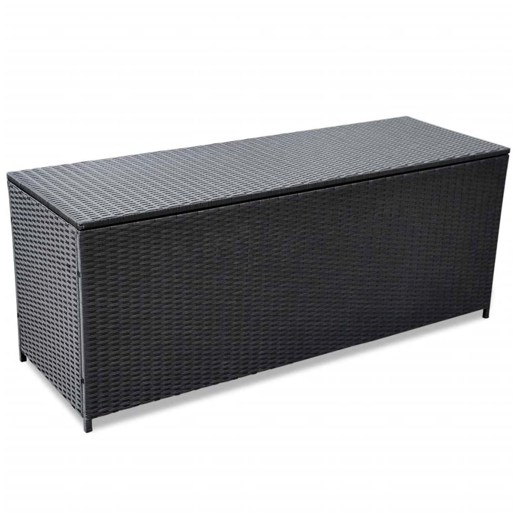 Outdoor Storage Box Poly Rattan Black 150x50x60cm Bench Cabinet Chest