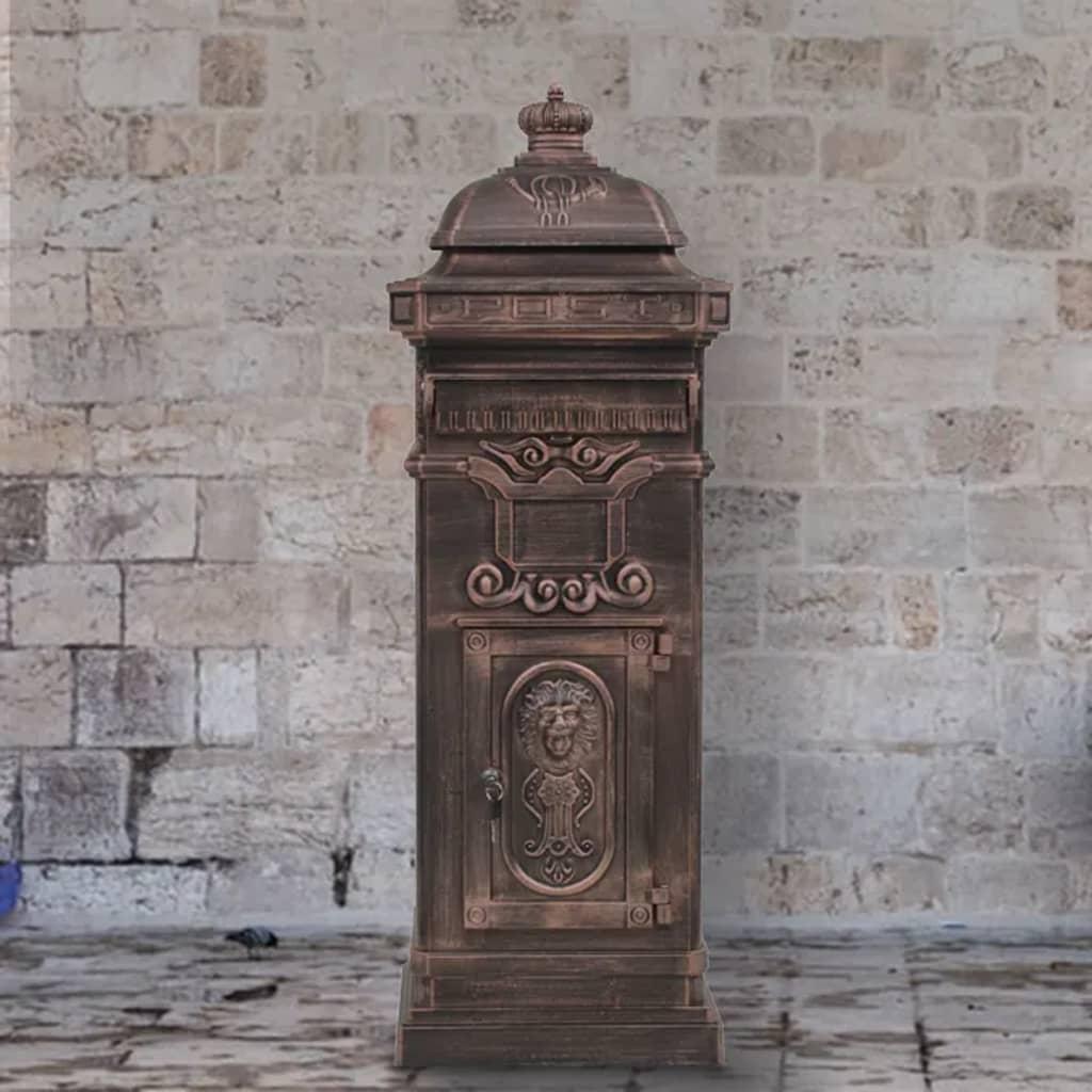 Pillar Letterbox Aluminium Vintage Style Rustproof Bronze Standing Box