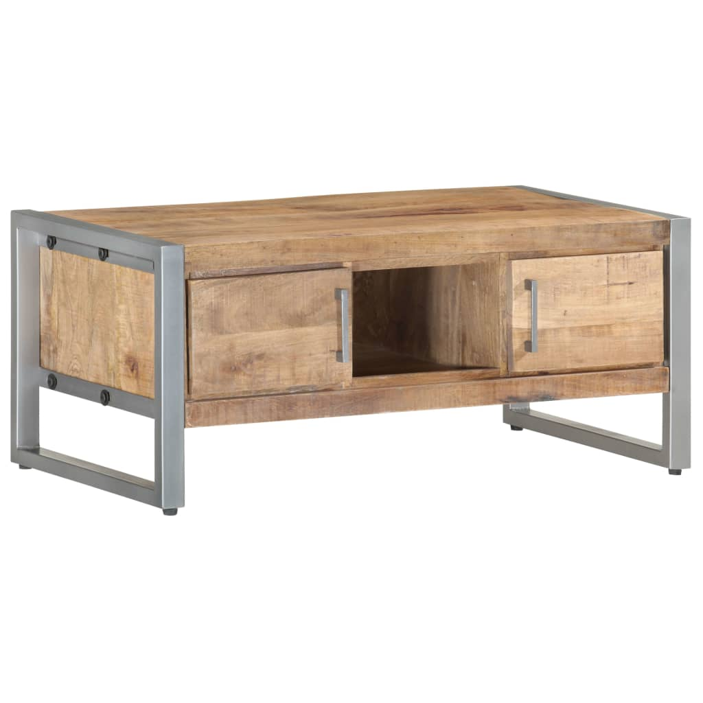 vidaXL Rough Mango Wood Coffee Table 95x50x40cm Wooden Accent Side End Table