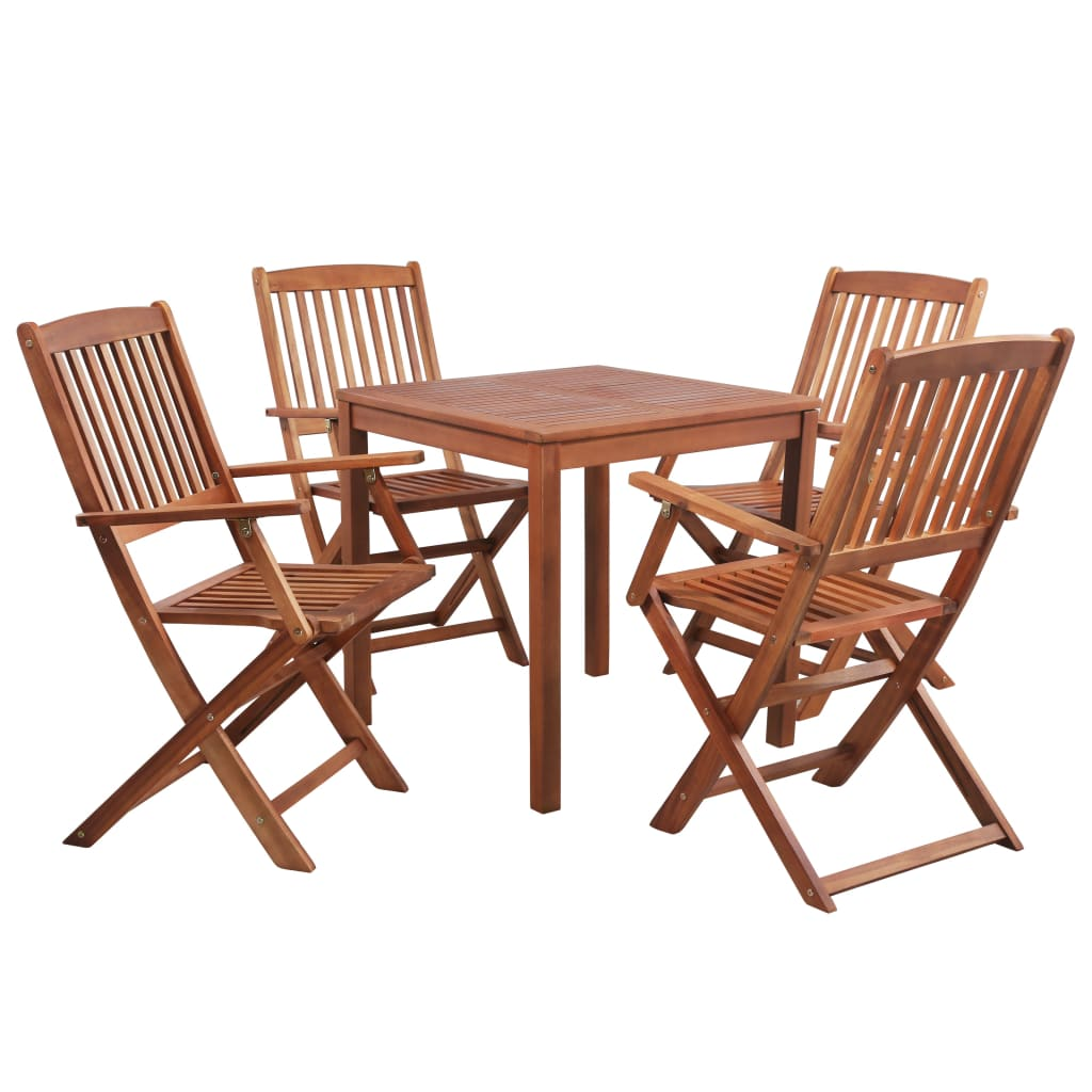 Solid Acacia Wood 5 Piece Outdoor Dining Set Garden Indoor Table Chairs