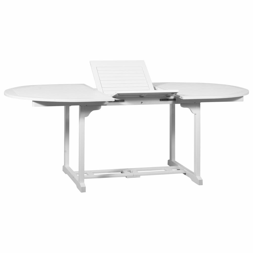 vidaXL Solid Acacia Wood Extendable Oval Dining Table White Weather Resistant