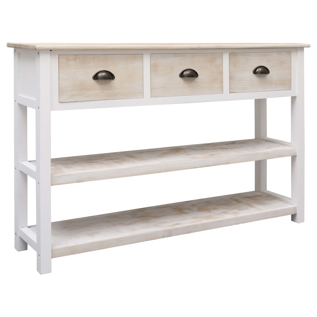 Solid Paulownia Poplar Wood Sideboard Natural & White 115cm Side Table