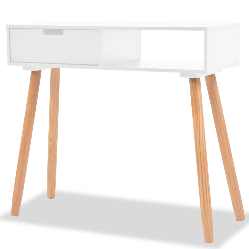 vidaXL Solid Pinewood Console Table White End Side Display Desk Furniture