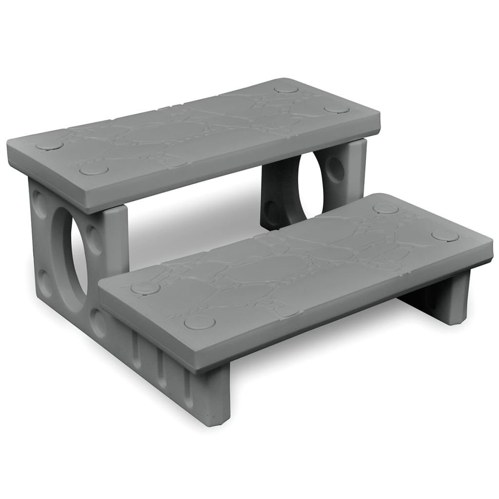 vidaXL Spa Steps Grey Plastic Reversible Treads Swimming Pool Hot Tub Ladder