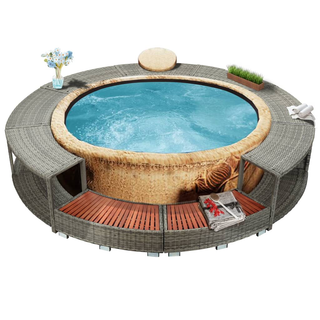 Spa Surround Grey Poly Rattan Weather Resistant Hot Tub Surround Seat