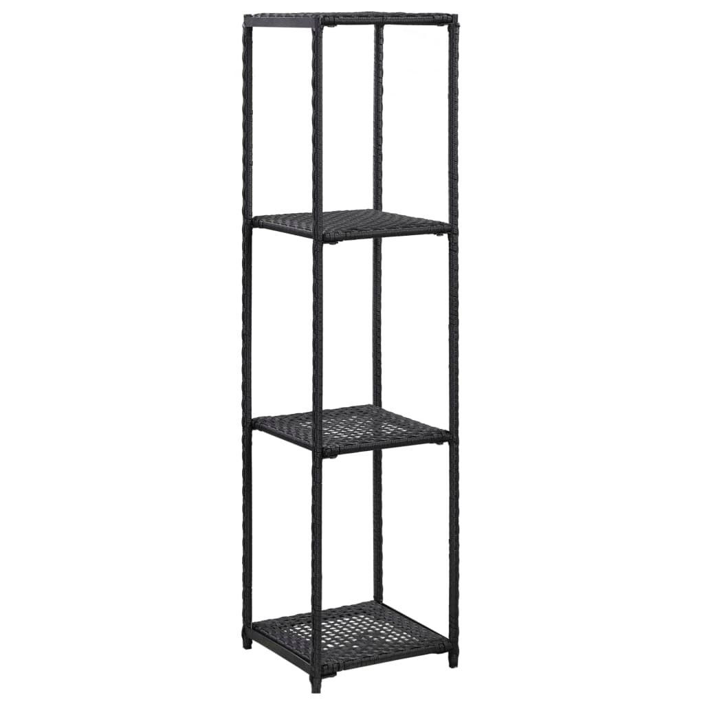 vidaXL Storage Shelf Black 120cm Poly Rattan Rack Unit Organiser Furniture