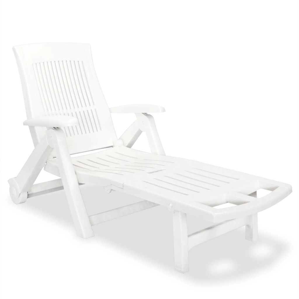 Sun Lounger with Footrest Plastic White Adjustable Outdoor Sun Bed