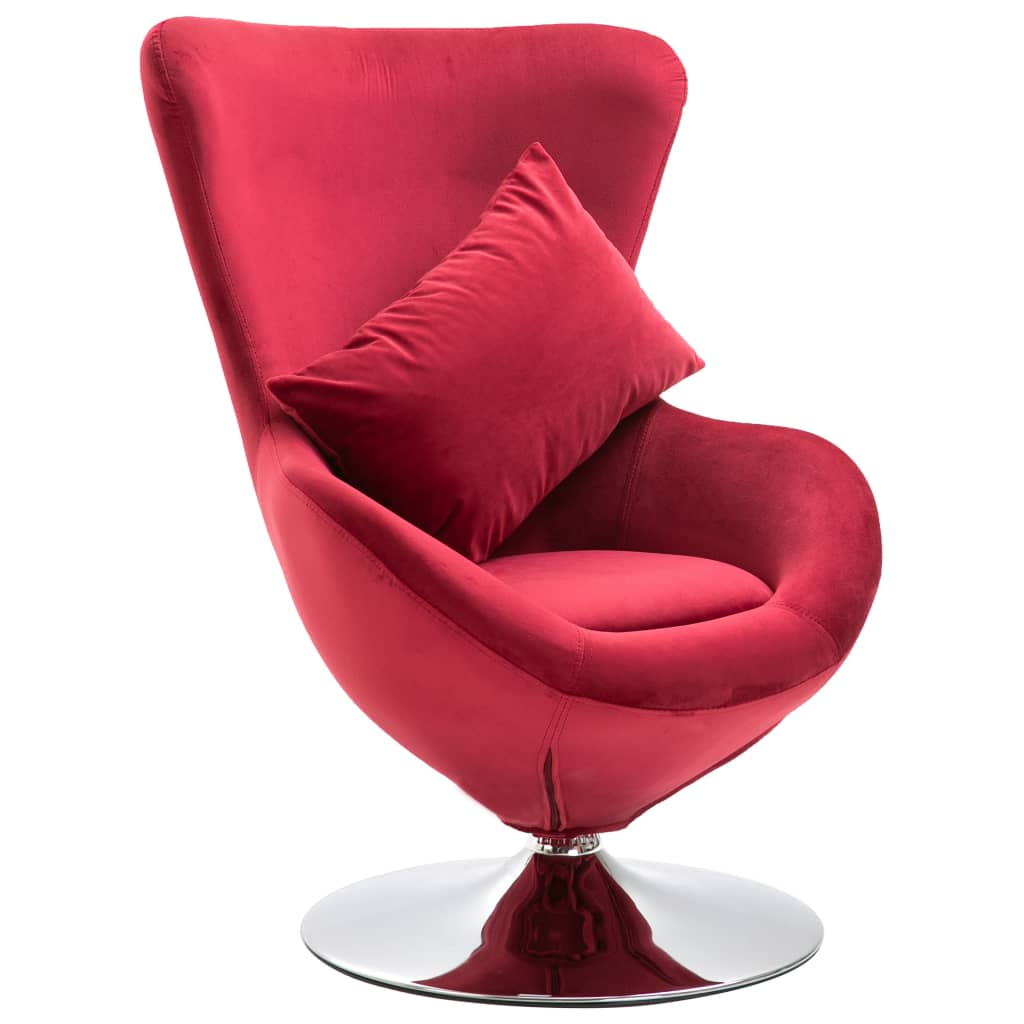Swivel Egg Chair with Cushion Red Velvet French Arm Seating Bedroom