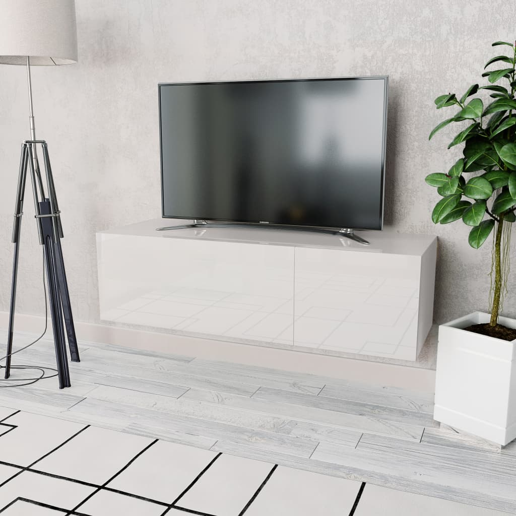TV Cabinet Chipboard High Gloss White Entertainment Center Stand Unit