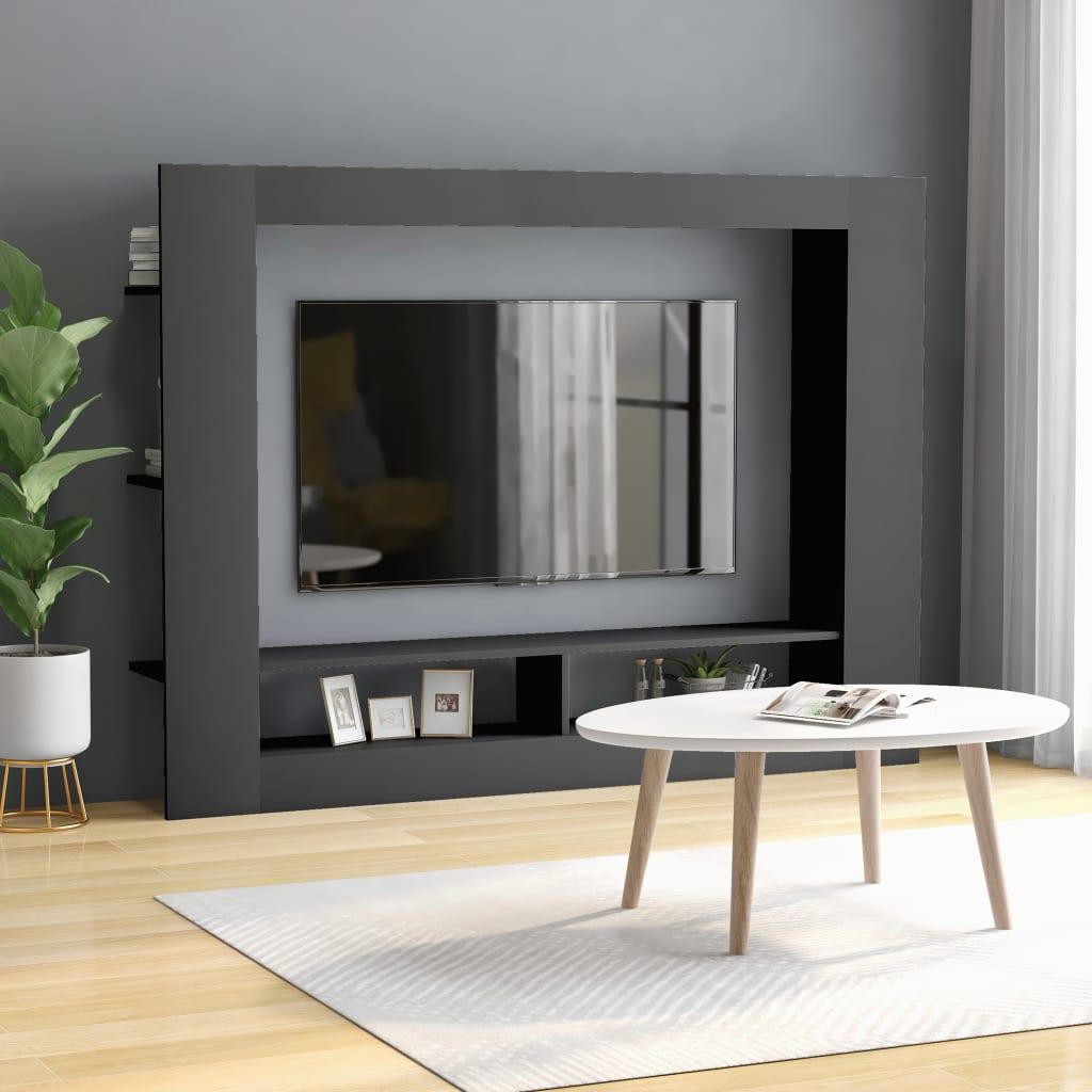 TV Cabinet Grey Chipboard Entertainment Centre Media HiFi Stand Unit