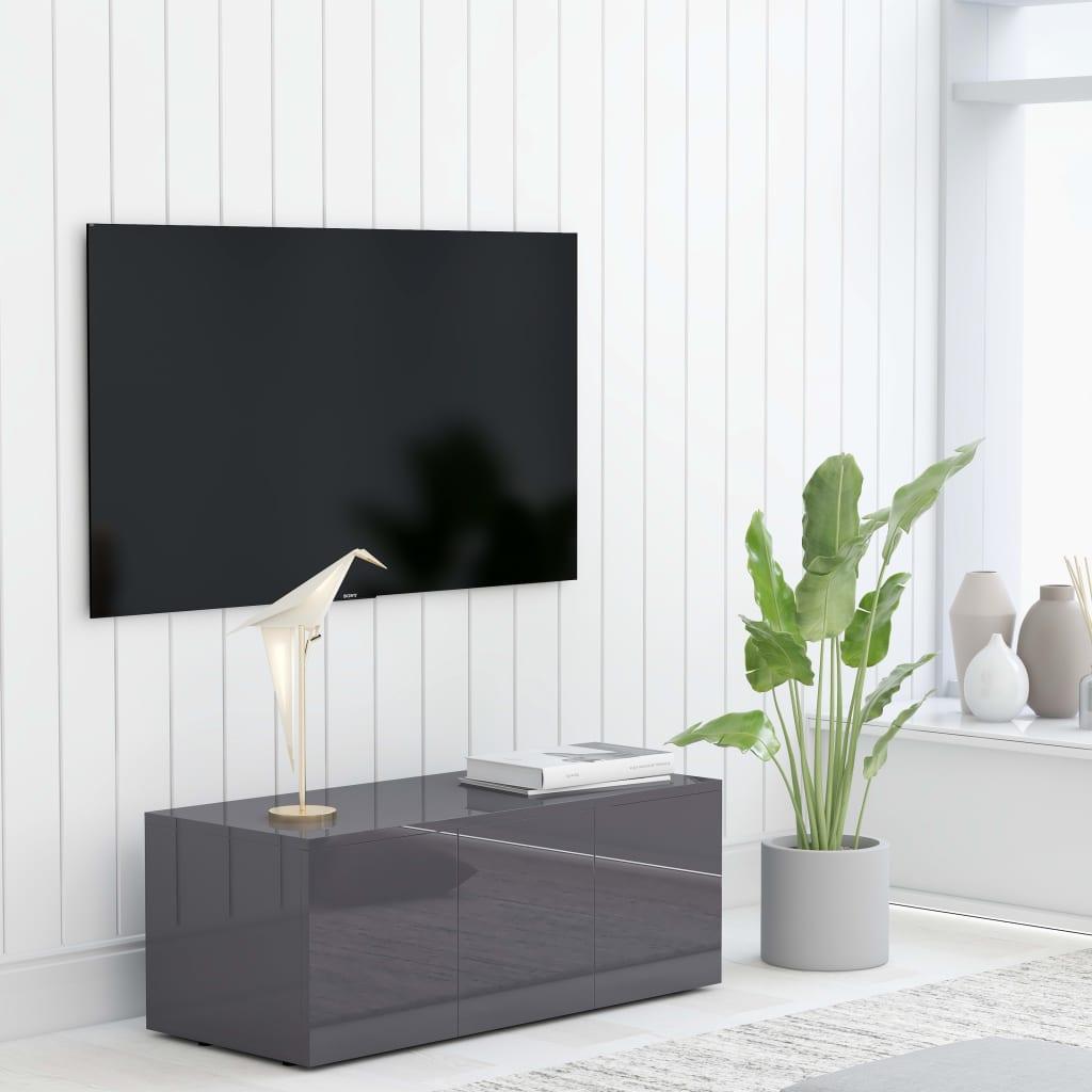 TV Cabinet High Gloss Grey 80x34x30cm Chipboard Living Room Furniture
