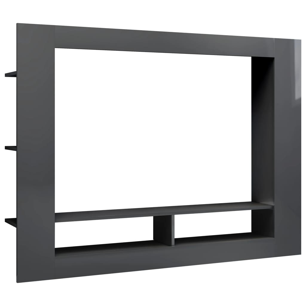TV Cabinet High Gloss Grey Chipboard Entertainment Centre HiFi Stand
