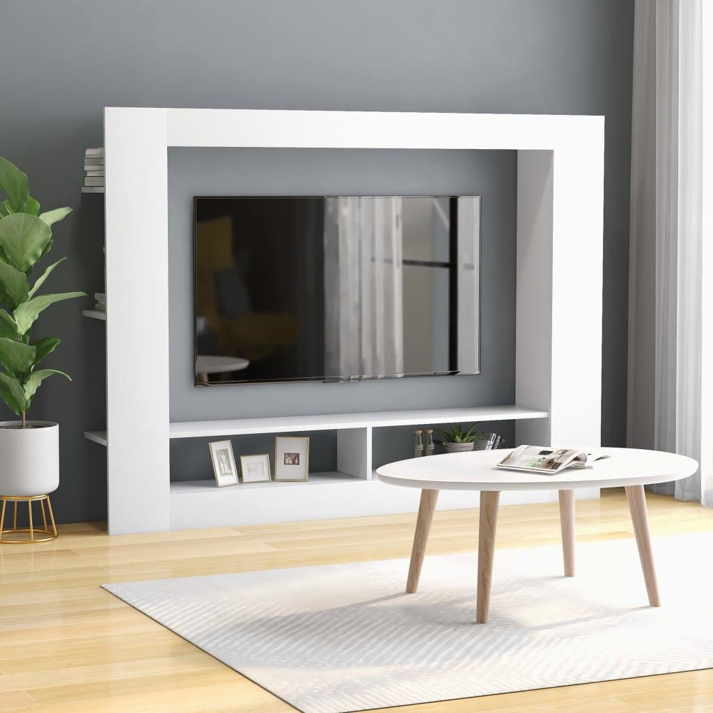TV Cabinet White Chipboard Entertainment Centre Media HiFi Stand Unit
