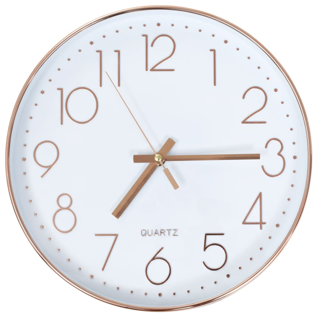 vidaXL Wall Clock 30cm Rose Gold Round Decotative Analog Time Easy to Read