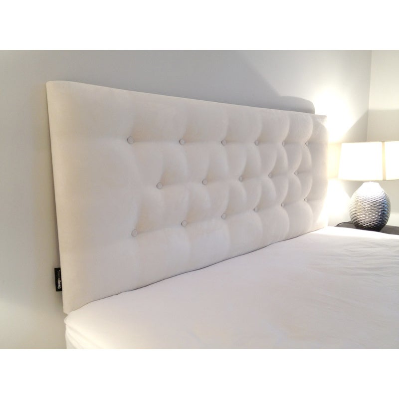 Diamond Double Low Rise Fabric Bedhead in White