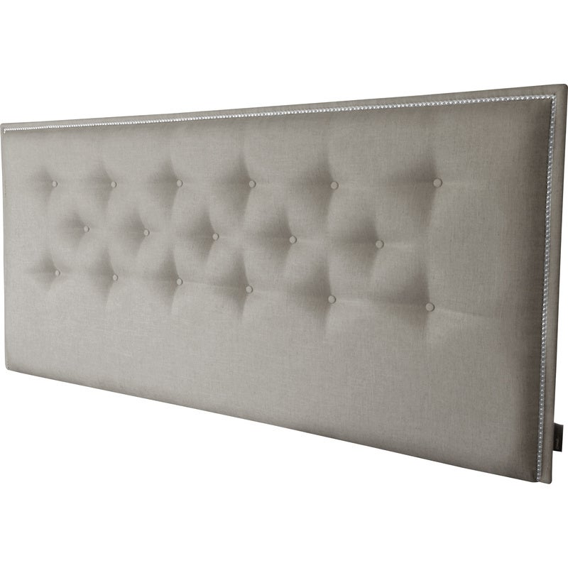Philippe King Chrome Stud Fabric Bedhead in Silver