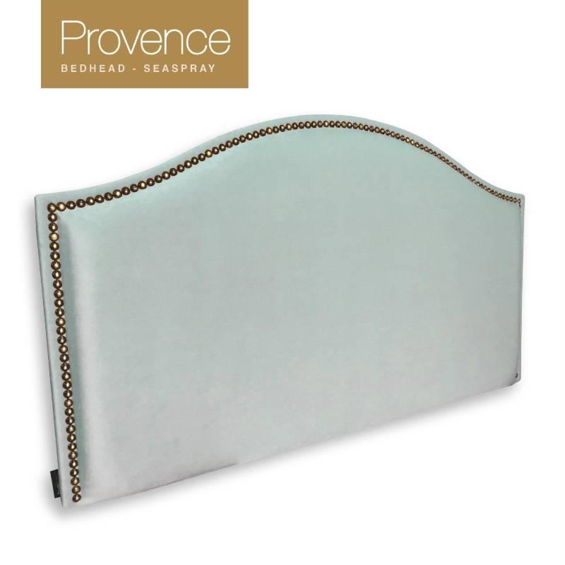 Provence King Bronze Stud Fabric Bedhead - Seaspray