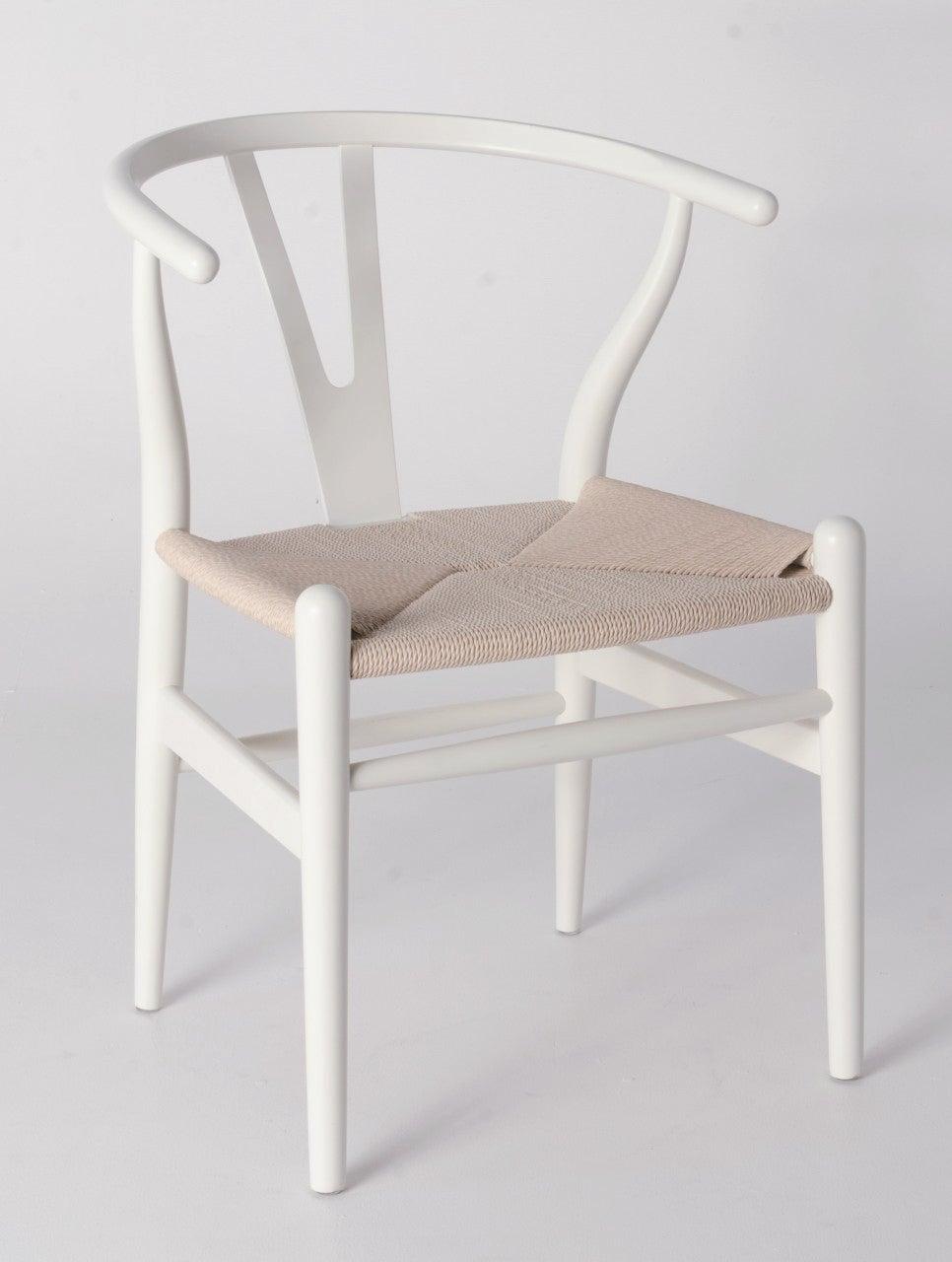 Replica Hans Wegner Wishbone Chair - White Frame (grain visible) Natural seat - Ash Timber