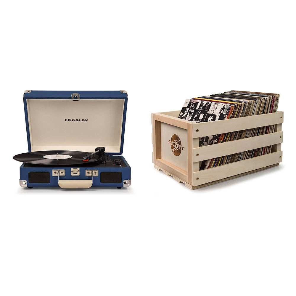 Crosley Cruiser Deluxe Portable Turntable - Blue + Bundled Record Storage Crate