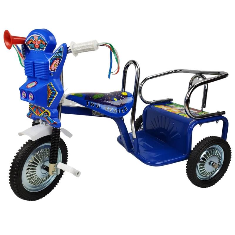 Space Kid Two Seats Tricycle - Blue
