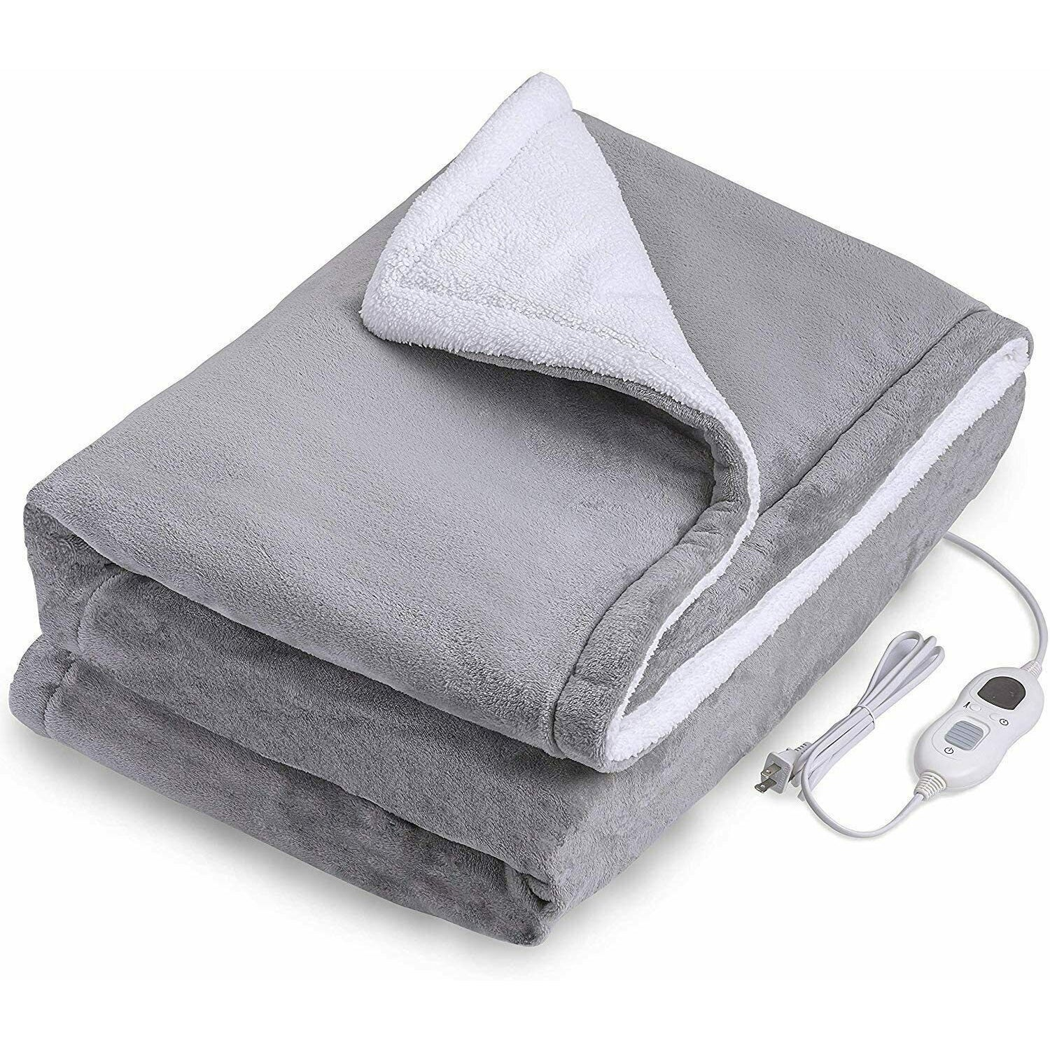 Washable Heated Electric Throw Rug Blanket Fast Heating Double-side Flannel Warm