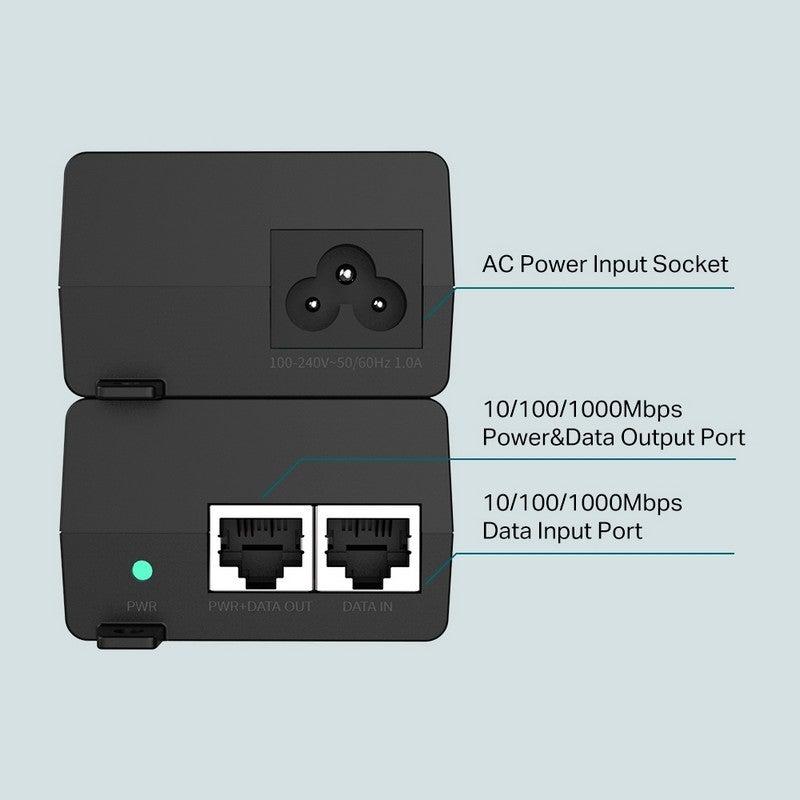 TP-Link TL-POE160S PoE+ Injector, 2 Gigabit Ports, IEEE802.3af/at, Plug & Play