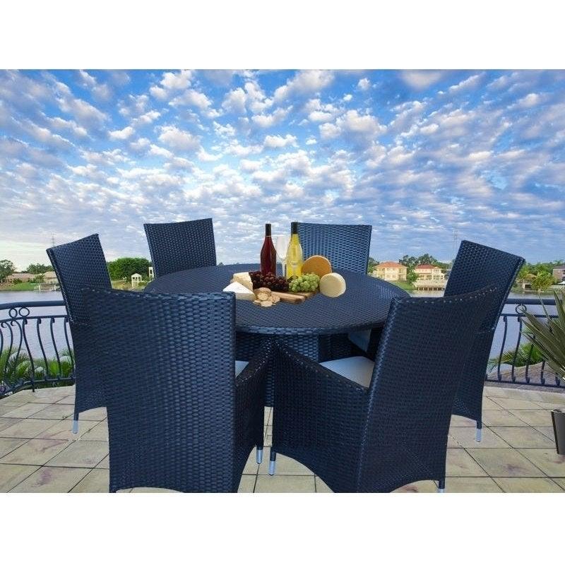 Victoria 6 Seat PE Wicker Outdoor Dining Set Black