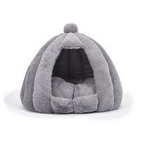 Pet Bed Comfy Kennel Cave Cat Dog Beds Bedding Castle Igloo Nest Grey
