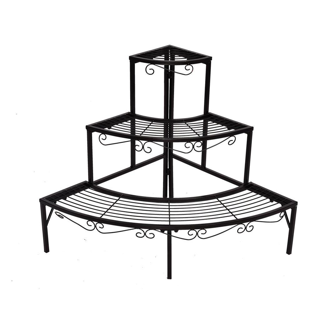 2x Levede Outdoor Indoor Plant Stand Garden Metal 3 Tier Planter Corner Shelf