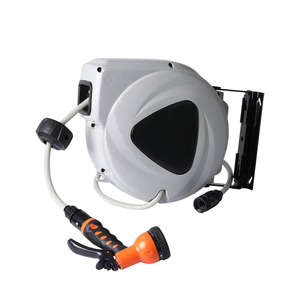 Retractable Hose Reel Garden Spray Gun Nozzle Water Wall Bracket Auto Rewind 10M
