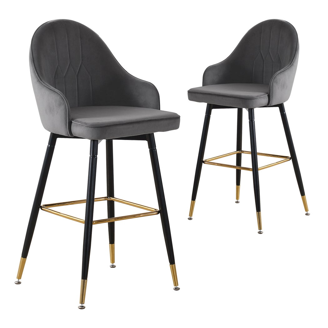 Levede 2x Bar Stools Kitchen Stool Chairs Velvet Swivel Barstools Luxury Grey