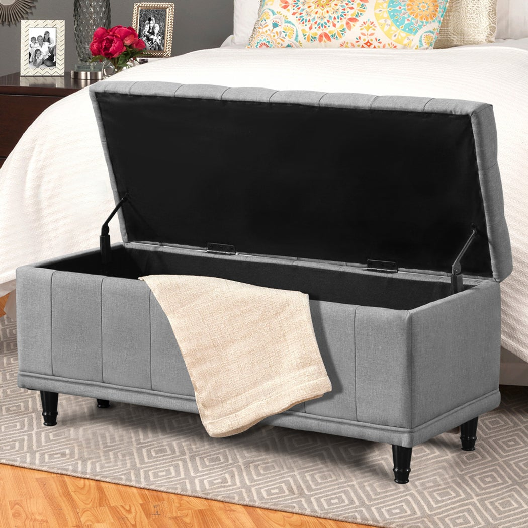 Levede Storage Ottoman Blanket Box Fabric Large Rest Chest Toy Foot Stool Grey