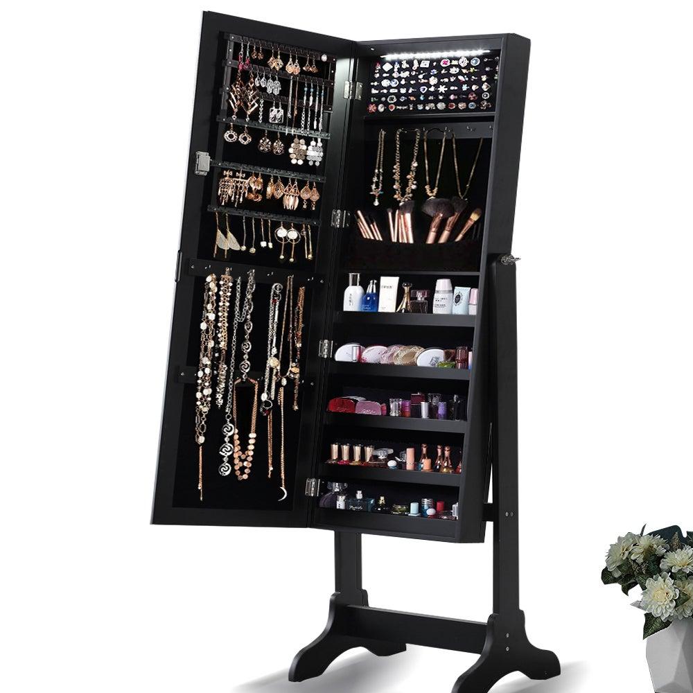 Mirror Jewellery & Cosmetic Storage Cabinet Black